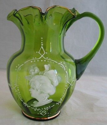 Victorian Mary Gregory Moser Water Pitcher Green Glass Hand Painted Portrait