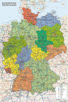 Map of Germany Maxi size 91.5 x 61cm (36in X 24in) Poster Education Aid New