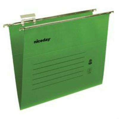 Pack Of 50 Green Foolscap Suspension Files With Tabs And Inserts 25X39Cm
