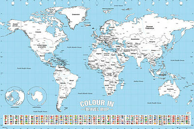 Map of the World Colour In  size 91.5 x 61cm (36in X 24in) Poster Education Aid