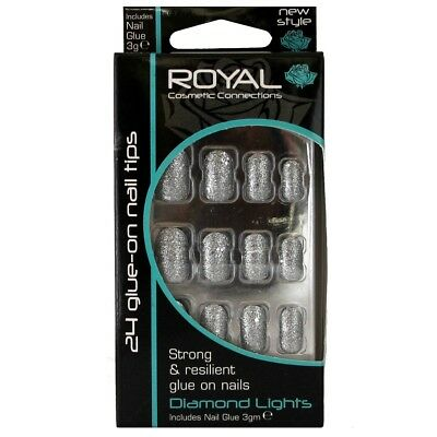 24 faux ongles & colle argenté scintillant chatoyant Diamond Lights false nails