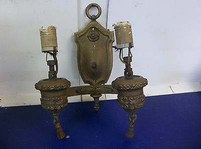 Lovely Antique Art Deco Double Wall Sconce With Original Paint