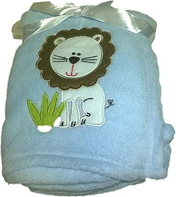 Baby Blanket Super Soft Plush 30 x 40Embroidered- Lion-Blue