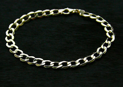 9ct yellow gold men`s curb bracelet 7.9inch Gift Boxed