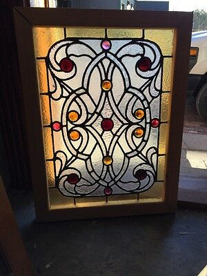Sg 925 Antique Jeweled Stainglass Window Amazing