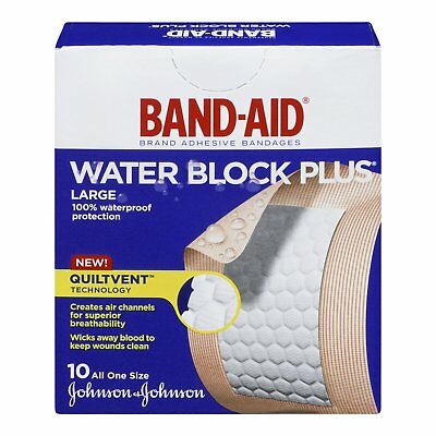 Band-Aid Large Water Block Plus Adhesive Bandages - 10 Count (Pack Of 3)