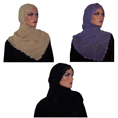 Wholesale Lot of 3  Crochet Shawl Hijab Black Purple Beige