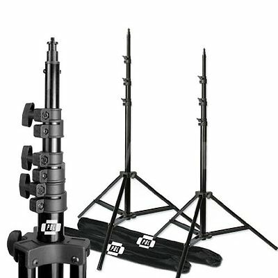 Pro PBL Heavy Duty 8ft Light Stands, Air Cushioned Set of 2, Photographic