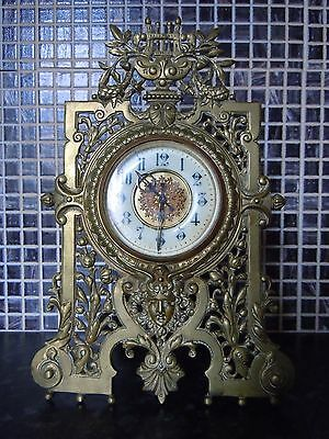 Circa 1880 Greek Revival Victorian Pierced Brass Easel Clock