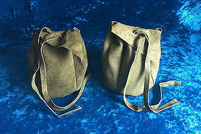 Green leather drawstring pouch coin purse mediaeval renactment LARP SCA gift