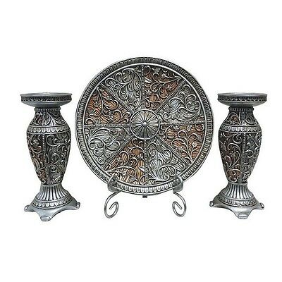 Sofia Collection Four Piece Charger, Stand And Two Candlestick Set NEW