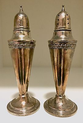 Antique Vintage Classic Sterling Cement Weighted Salt & Pepper Shakers Pointed