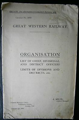 Great Western Railway ~ Organisation Lists of Officers, Limits of Divisions 1930