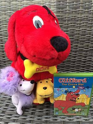 Large Clifford The Big Red Dog With T-Bone & Cleo Soft Toy AND Circus Star DVD