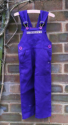 Purple linen kids toddler dungarees 18-30mts lots pockets butterfly trim hippy