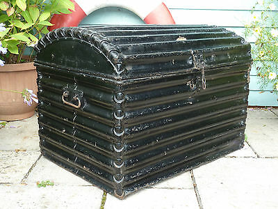 Large Victorian Very Rare Fluted Metal Travel Chest Trunk Vintage 1860-1880
