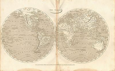 1806 Antique Map-Arrowsmith- The World In Hemispheres