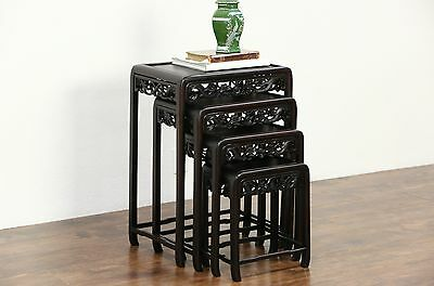 Set of 4 Chinese Vintage Carved Rosewood Nesting Snack Tables