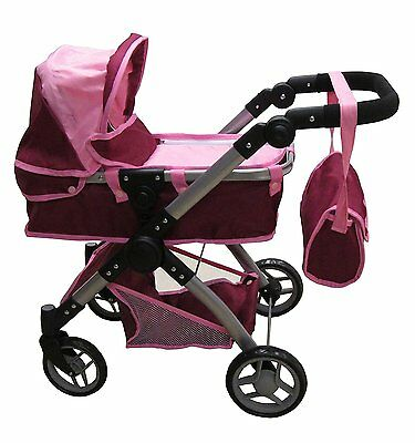 Premium 2 In 1 Doll Stroller,with Swiveling Wheels Adjustable Handle + Free Bag