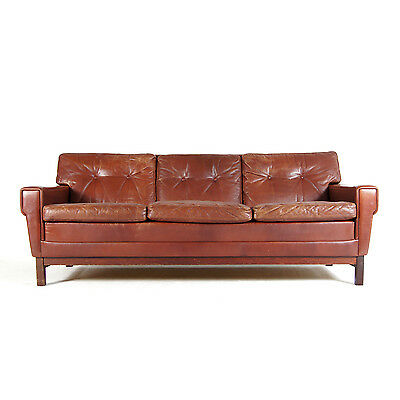 Retro Vintage Danish Teak & Leather 3 Seat Seater Sofa 50s 60s 70s Scandinavian
