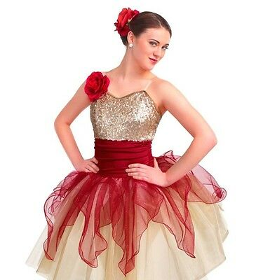 New Unopened Ballet Adult Medium Red Ivory Curtain Call Solo Dance Costume