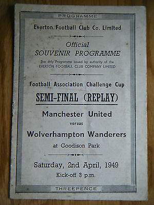 1949 MANCHESTER UNITED v WOLVES FA CUP SEMI FINAL REPLAY PROGRAMME