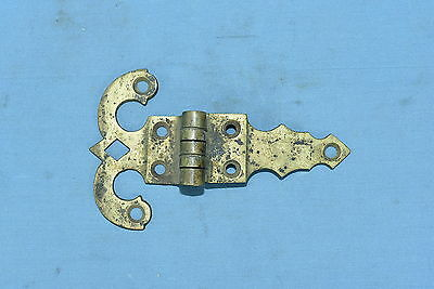 Antique SOLID BRASS OFF SET ICE BOX HARDWARE HINGE RESTORATION PART OLD Lot #28