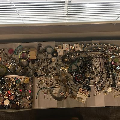 11+ Pound JEWELRY LOT Earrings Necklaces Bracelets Brooches Pins Watches Misc