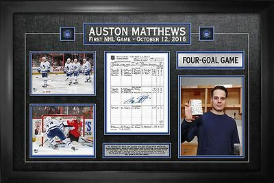 Auston Matthews - Signed & Framed Scoresheet Toronto Maple Leafs First Game Coll
