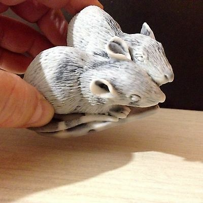 Mice figurine from Russia marble chips miniature rats love heart