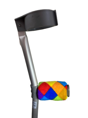 Crutch Handle Padded Covers HIGH QUALITY Cushioned Foam - Diamond Rainbow Print