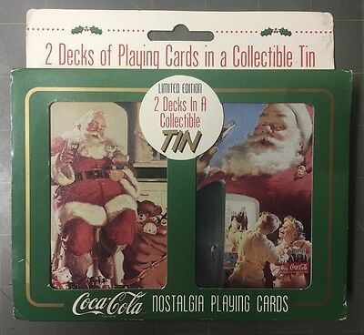 Two Decks Coca-Cola Playing Cards In Tin 1995 Mint Factory Sealed Free Shipping