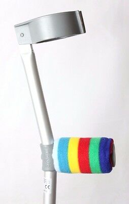 Padded Handle Comfy Crutch Covers/pads - Primary Coloured Rainbow