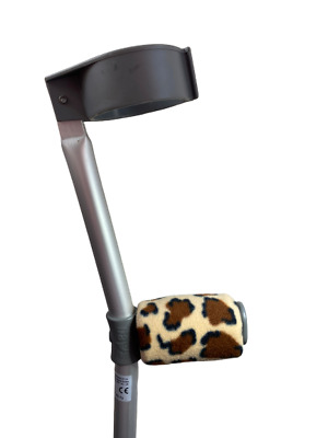 Crutch Handle Padded Covers HIGH QUALITY Cushioned Foam Pad - Leopard Fleece