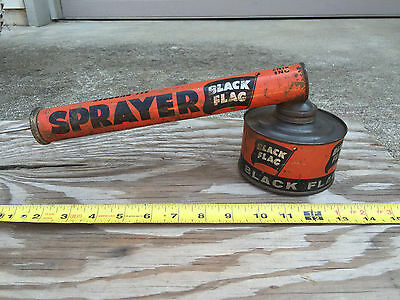 Vtg bug insecticide sprayer duster Black Flag 1950s tin litho fab collectible