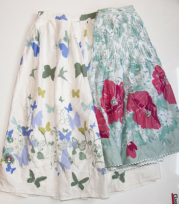 MONSOON  2 skirts - POPPIES and BUTTERFLIES embroidered with beads 10-12 years