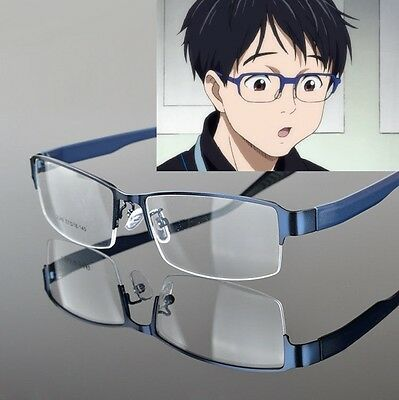 Anime Yuri!!! On Ice Katsuki Yuuri Eyewear Cosplay blue glasses with Lens