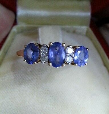 9ct gold Ring Tanzanite and Diamond gem set , size P from QVC