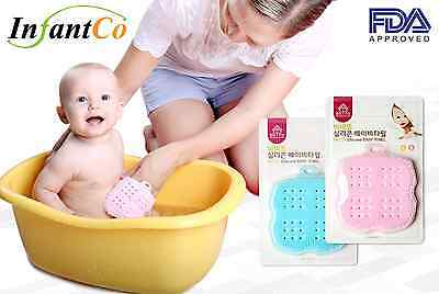 InfantCo Premium Baby Bath Silicone Sponge Towel Ultra-Soft Anti-bacterial FDA