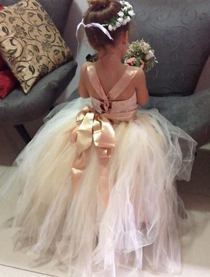 New Flower Girl Dress Princess Vintage Special Occasion Party Wedding CREAM LACE
