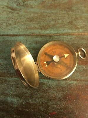 Old Vtg Fluid Filled Camping Sailing Silver Tone Compass