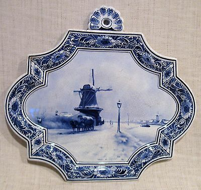 Antique Delft Dutch Plaque with Windmill Artist Signed