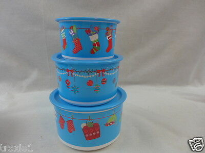 Tupperware Christmas Canisters Holiday Hangout Lot  Stacking Nesting One Touch
