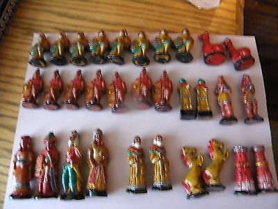 Clay Aztec Conquistador Chess/checker Set/folding Case/clay/hand Painted