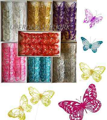 Box of 12, 8cm Clip-On Jewelled & Glitter Butterflies Wedding Craft Decoration