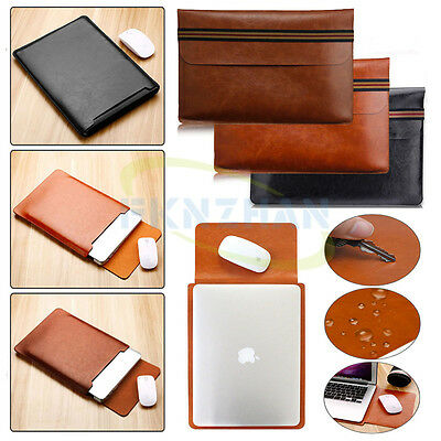 """Simple Leather Envelope Pouch Handbag Sleeve Case For 13"""" 13.3"""" Laptop Notebook"""
