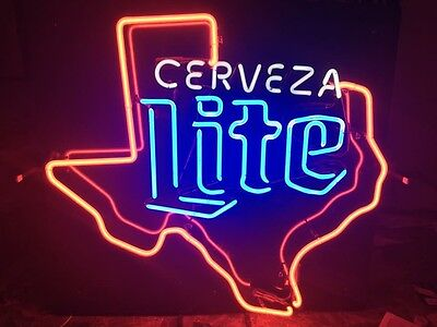 Vintage Cerveza Miller Lite Texas Neon Beer Sign Bar Pub Man Cave