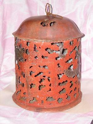 "Chinese Asian Antique Copper & Brass Lantern, Dragons with Clouds, 14"", #A012"