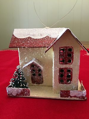 Mica Glitter Paper House Christmas Red Roof Ornament