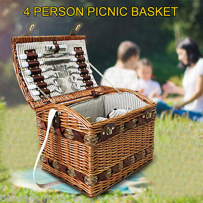 4 Person Picnic Basket Set W/ Cheese Board & Large Blanket Brown/Blue leather AU